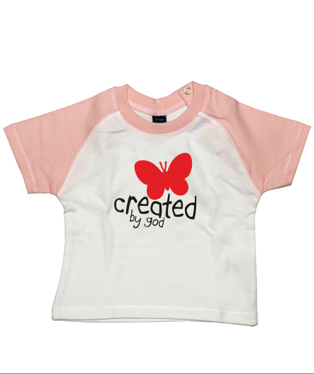 "Baby-Shirt ""created by god"""